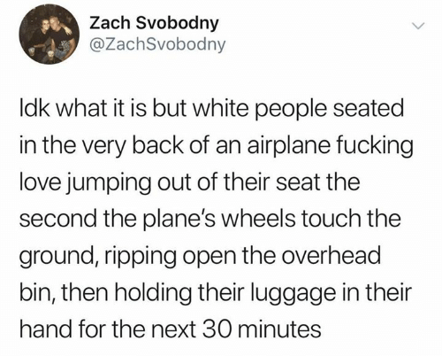 What It Is: Zach Svobodny  @ZachSvobodny  Idk what it is but white people seated  in the very back of an airplane fucking  love jumping out of their seat the  second the plane's wheels touch the  ground, ripping open the overhead  bin, then holding their luggage in their  hand for the next 30 minutes
