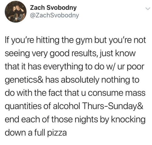 Gym, Pizza, and Alcohol: Zach Svobodny  @ZachSvobodny  If you're hitting the gym but you're not  seeing very good results, just know  that it has everything to do w/ ur poor  genetics& has absolutely nothing to  do with the fact that u consume mass  quantities of alcohol Thurs-Sunday&  end each of those nights by knocking  down a full pizza