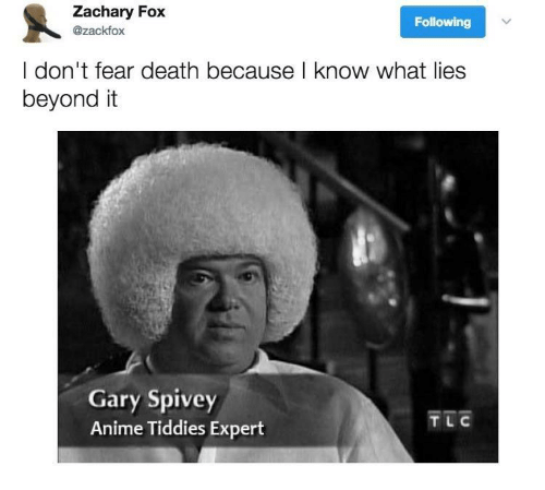 gary: Zachary Fox  Following  @zackfox  I don't fear death because l know what lies  beyond it  Gary Spivey  Anime Tiddies Expert  TL C