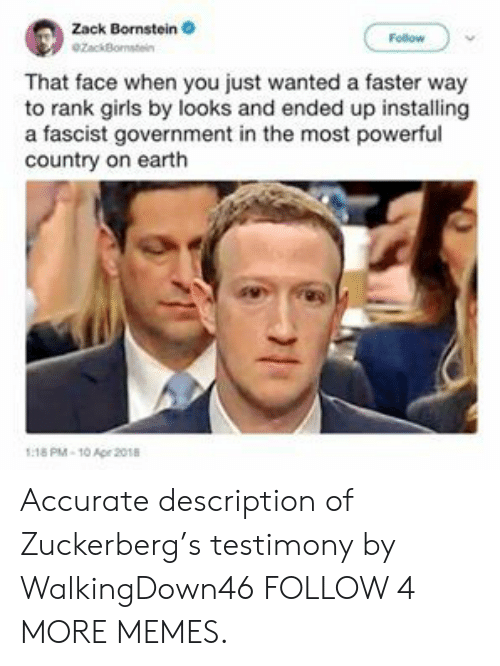 A Fascist: Zack Bornstein  Follow  ezackBomstein  That face when you just wanted a faster way  to rank girls by looks and ended up installing  a fascist government in the most powerful  country on earth  1:18 PM-10 Apr 2018 Accurate description of Zuckerberg's testimony by WalkingDown46 FOLLOW 4 MORE MEMES.