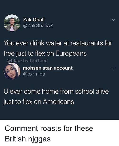 Alive, Flexing, and School: Zak Ghali  @ZakGhaliAZ  You ever drink water at restaurants for  free just to flex on Europeans  @blacktwitterfeed  mohsen stan account  @pxrmida  U ever come home from school alive  just to flex on Americans Comment roasts for these British njggas