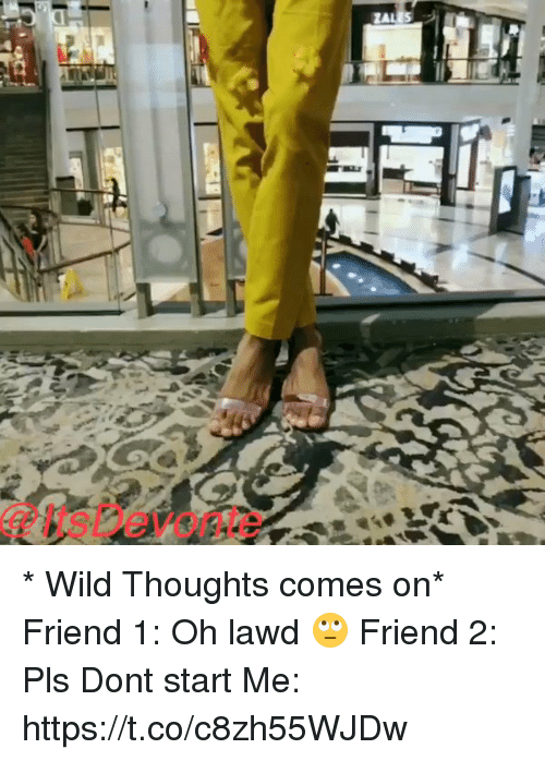 Friends, Funny, and Wild: ZALES * Wild Thoughts comes on*  Friend 1: Oh lawd 🙄  Friend 2:  Pls Dont start   Me:  https://t.co/c8zh55WJDw