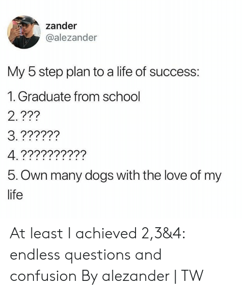 Dank, Dogs, and Life: zander  @alezander  My 5 step plan to a life of success:  1. Graduate from school  2.???  5. Own many dogs with the love of my  life At least I achieved 2,3&4: endless questions and confusion  By alezander   TW