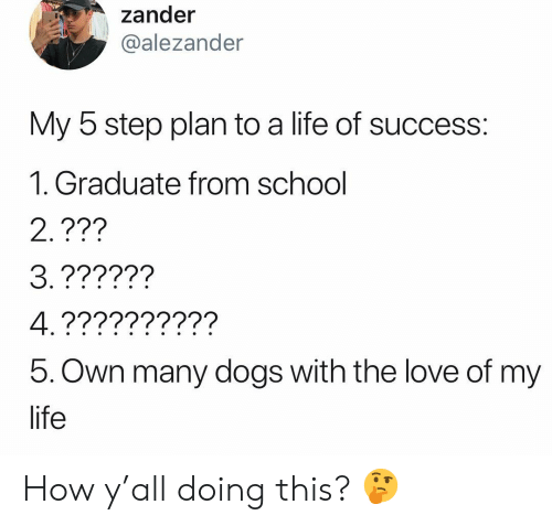 Dogs, Life, and Love: zander  alezander  My 5 step plan to a life of success:  1. Graduate from school  2.???  5. Own many dogs with the love of my  life How y'all doing this? 🤔