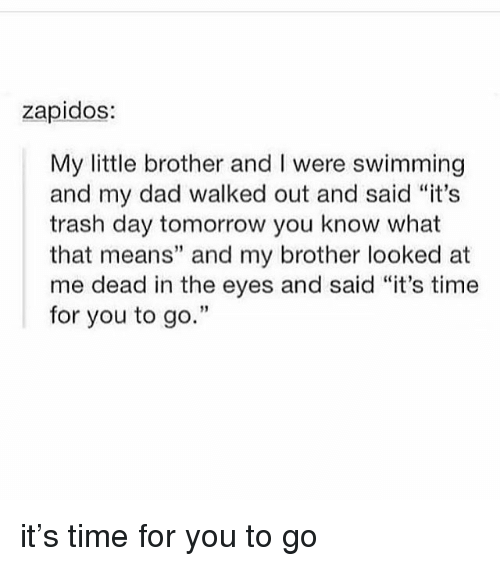 """Dad, Memes, and Trash: zapidos:  My little brother and I were swimming  and my dad walked out and said """"it's  trash day tomorrow you know what  that means"""" and my brother looked at  me dead in the eyes and said """"it's time  for you to go.""""  3 it's time for you to go"""