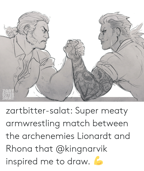 Tumblr, Blog, and Match: ZART  BITTER  SALAT zartbitter-salat:  Super meaty armwrestling match between the archenemies Lionardt and Rhona that @kingnarvik inspired me to draw. 💪