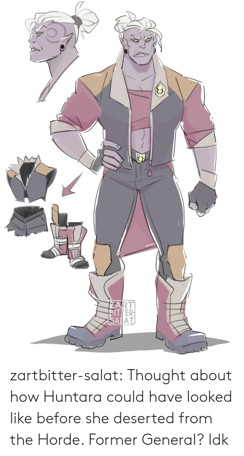 Tumblr, Blog, and Thought: ZART  BITTER  SALAT zartbitter-salat:  Thought about how Huntara could have looked like before she deserted from the Horde. Former General? Idk