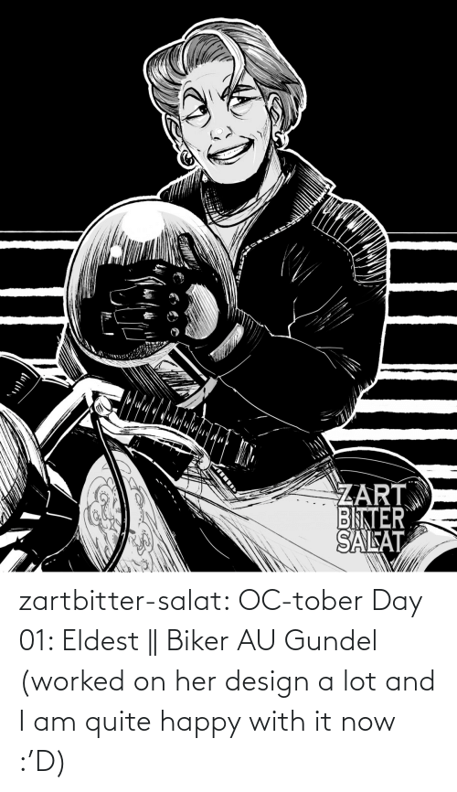 It Now: zartbitter-salat:  OC-tober Day 01: Eldest || Biker AU Gundel (worked on her design a lot and I am quite happy with it now :'D)