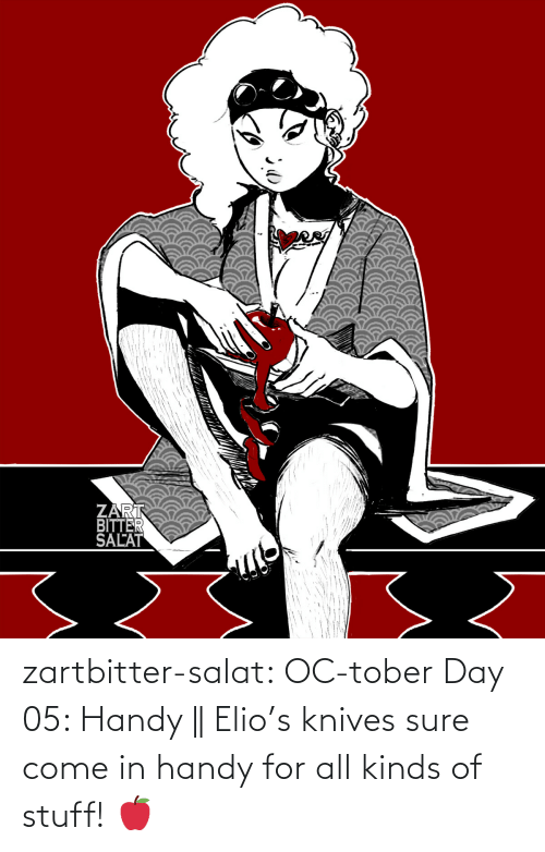 Come In: zartbitter-salat:   OC-tober Day 05: Handy ||  Elio's knives sure come in handy for all kinds of stuff! 🍎
