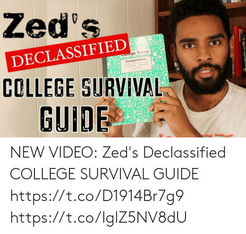 College, Funny, and Video: Zed's  DECLASSIFIED  Cofege Ruled  Composition  Zes's Declassie  COLLEGE SURVIVAL  GUIDE  COLLEGE SURVIVAL  GUIDE NEW VIDEO:  Zed's Declassified COLLEGE SURVIVAL GUIDE  https://t.co/D1914Br7g9 https://t.co/IglZ5NV8dU
