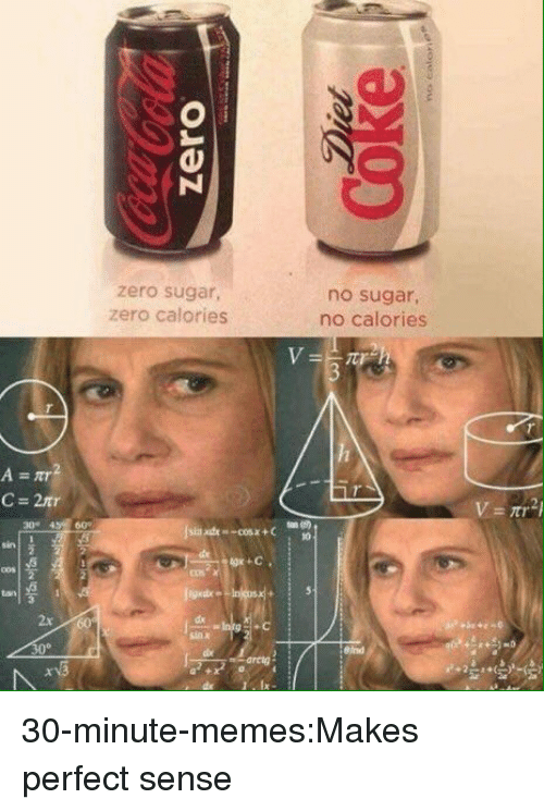 makes-perfect-sense: zero sugar,  zero calories  no sugar,  no calories  2x  dx  +c  30° 30-minute-memes:Makes perfect sense