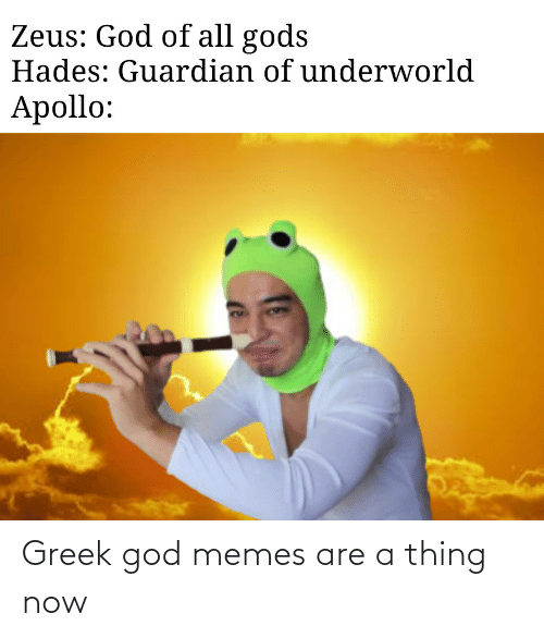 God, Memes, and Apollo: Zeus: God of all gods  Hades: Guardian of underworld  Apollo: Greek god memes are a thing now