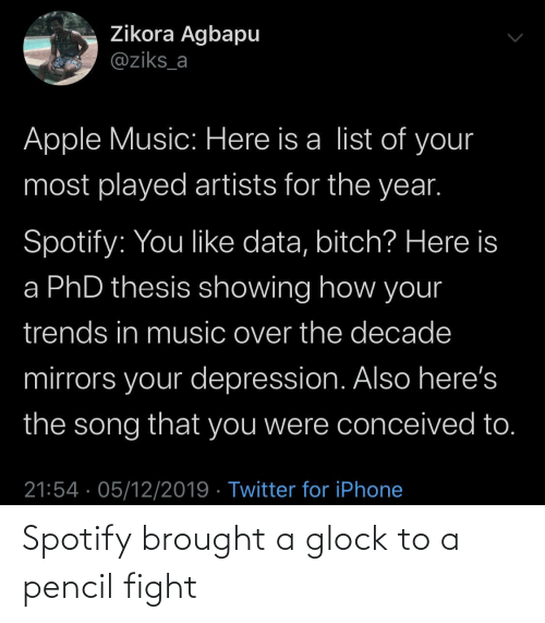 Apple, Bitch, and Iphone: Zikora Agbapu  @ziks_a  Apple Music: Here is a list of your  most played artists for the year.  Spotify: You like data, bitch? Here is  a PhD thesis showing how your  trends in music over the decade  mirrors your depression. Also here's  the song that you were conceived to.  21:54 · 05/12/2019 · Twitter for iPhone Spotify brought a glock to a pencil fight