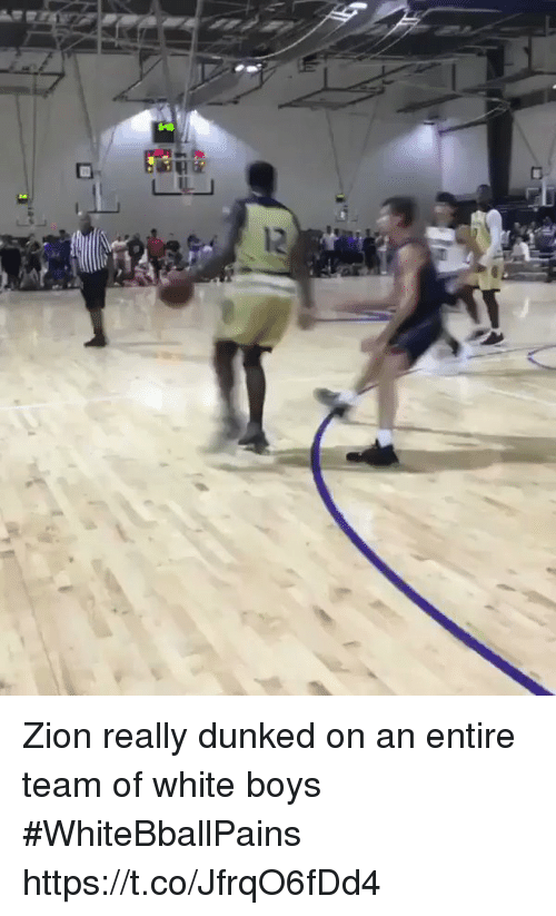 dunked on: Zion really dunked on an entire team of white boys #WhiteBballPains https://t.co/JfrqO6fDd4