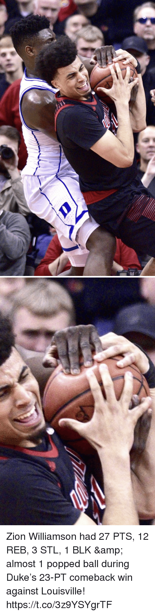 Memes, Duke, and 🤖: Zion Williamson had 27 PTS, 12 REB, 3 STL, 1 BLK & almost 1 popped ball during Duke's 23-PT comeback win against Louisville! https://t.co/3z9YSYgrTF