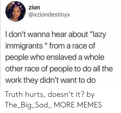 "enslaved: zion  @xziondestinyx  I don't wanna hear about ""lazy  immigrants "" from a race of  people who enslaved a whole  other race of people to do all the  work they didn't want to do Truth hurts, doesn't it? by The_Big_Sad_ MORE MEMES"