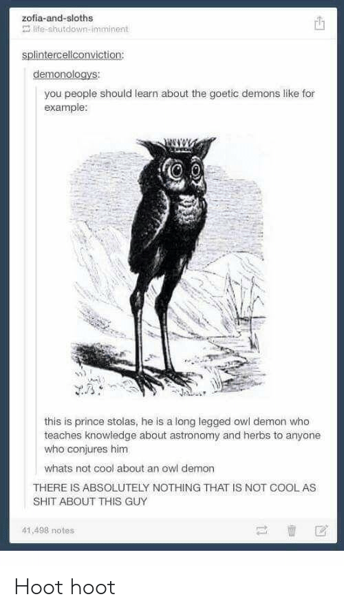 Life, Prince, and Shit: zofia-and-sloths  life-shutdown-imminent  demonologys:  you people should learn about the goetic demons like for  example:  this is prince stolas, he is a long legged owl demon who  teaches knowiedge about astronomy and herbs to anyone  who conjures him  whats not cool about an owl demon  THERE IS ABSOLUTELY NOTHING THAT IS NOT COOLAS  SHIT ABOUT THIS GUY  41,498 notes Hoot hoot