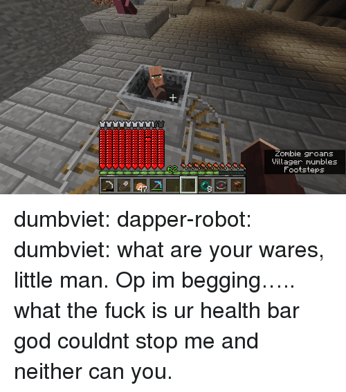 dapper: Zombie groans  Villager mumbles  Footsteps dumbviet:  dapper-robot:  dumbviet: what are your wares, little man.  Op im begging….. what the fuck is ur health bar   god couldnt stop me and neither can you.