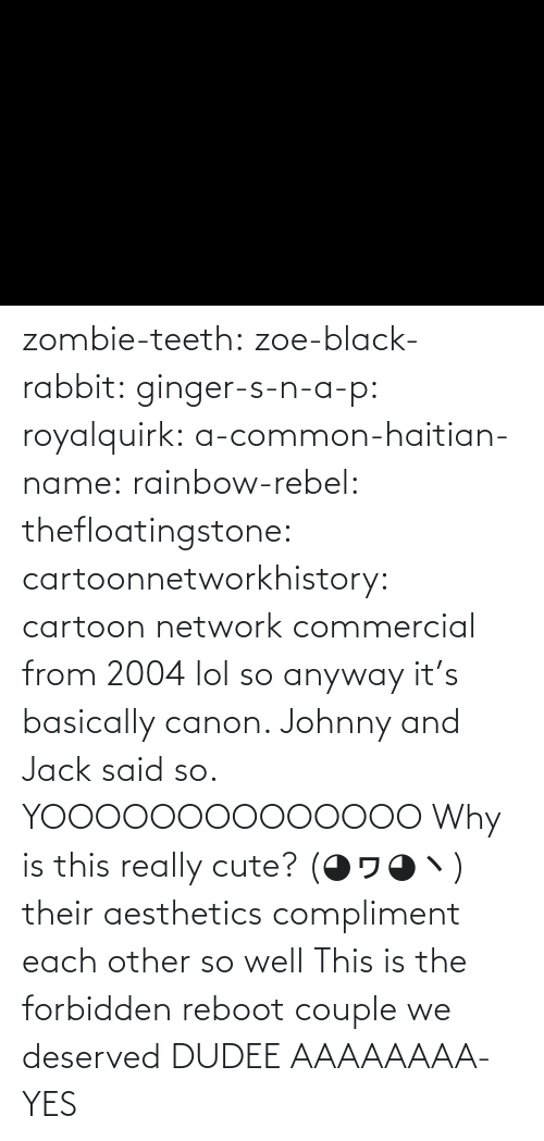 compliment: zombie-teeth:  zoe-black-rabbit:   ginger-s-n-a-p:  royalquirk:  a-common-haitian-name:  rainbow-rebel:   thefloatingstone:  cartoonnetworkhistory: cartoon network commercial from 2004 lol so anyway it's basically canon. Johnny and Jack said so.    YOOOOOOOOOOOOOO    Why is this really cute? (◕ヮ◕ヽ)  their aesthetics compliment each other so well    This is the forbidden reboot couple we deserved    DUDEE AAAAAAAA-    YES
