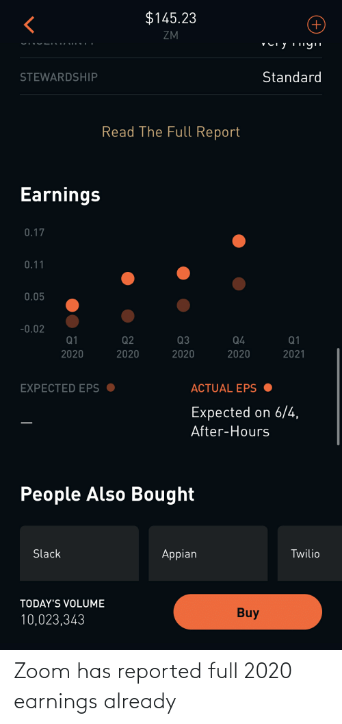 Reported: Zoom has reported full 2020 earnings already