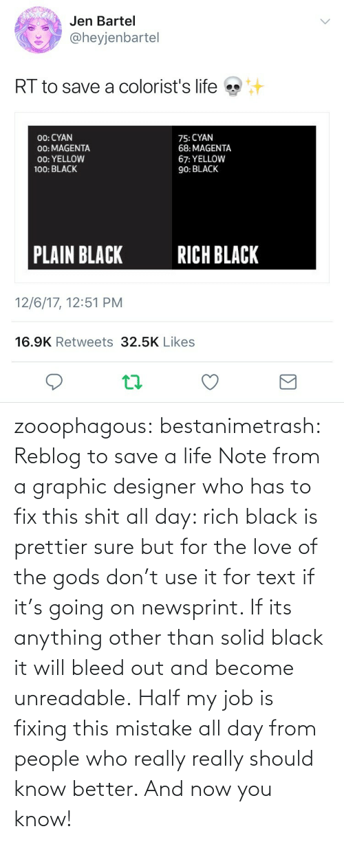 Become: zooophagous:  bestanimetrash: Reblog to save a life  Note from a graphic designer who has to fix this shit all day: rich black is prettier sure but for the love of the gods don't use it for text if it's going on newsprint. If its anything other than solid black it will bleed out and become unreadable. Half my job is fixing this mistake all day from people who really really should know better. And now you know!